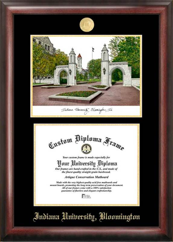 Indiana University, Bloomington Gold embossed diploma frame with Campus Images lithograph