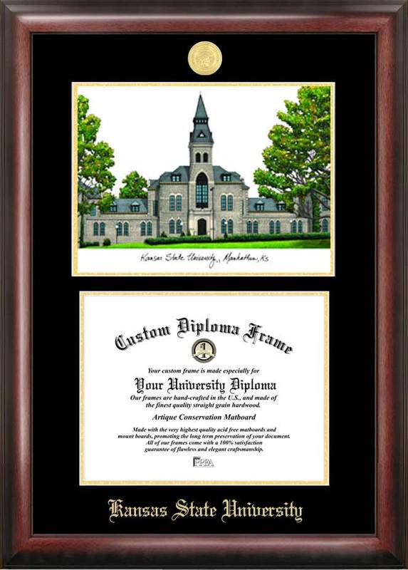 Kansas State University Gold embossed diploma frame with Campus Images lithograph