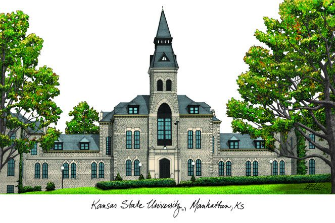Kansas State University Campus Images Lithograph Print
