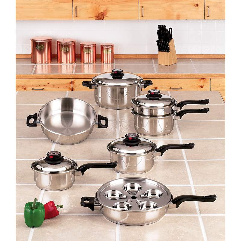 World's Finest™ 7-ply Steam Control™ 17pc T304 Stainless Steel Cookware Set - KT17ULTRA
