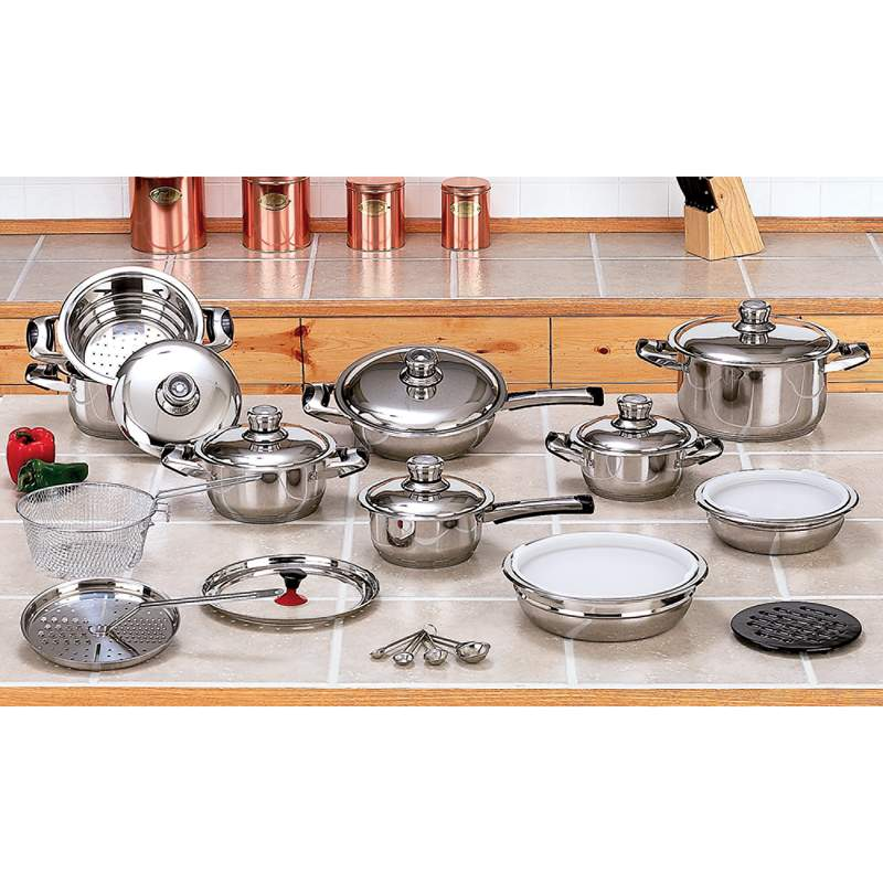 28pc 12-element High-quality, Heavy-gauge Stainless Steel Cookware Set - KT28