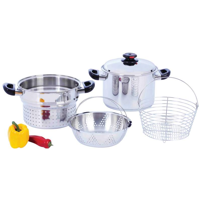 Steam Control™ 8qt T304 Stainless Steel Stockpot/spaghetti Cooker With Deep Fry Basket & Steamer Inserts - KT82