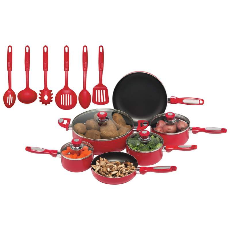 Chef's Secret® 16pc Red Aluminum Cookware Set - KTAL16