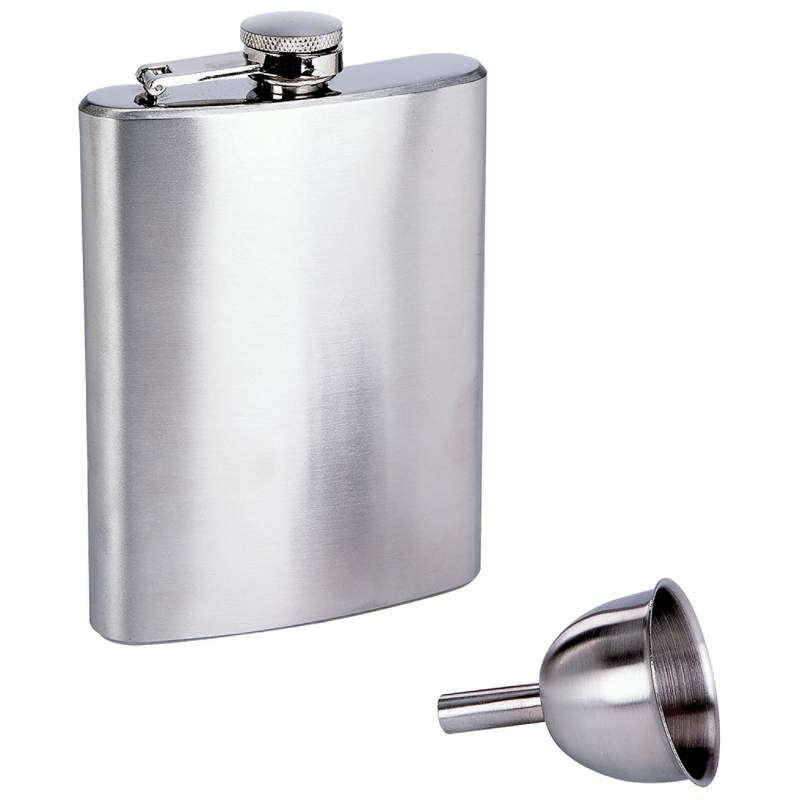 Maxam® 8oz Stainless Steel Flask And Funnel In Window Gift Box - KTFLASK8WB - KTFLASK8WB