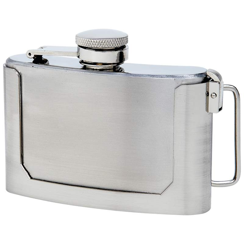 Maxam® 3oz Stainless Steel Belt Buckle Flask - KTFLASKBKL3 - KTFLASKBKL3