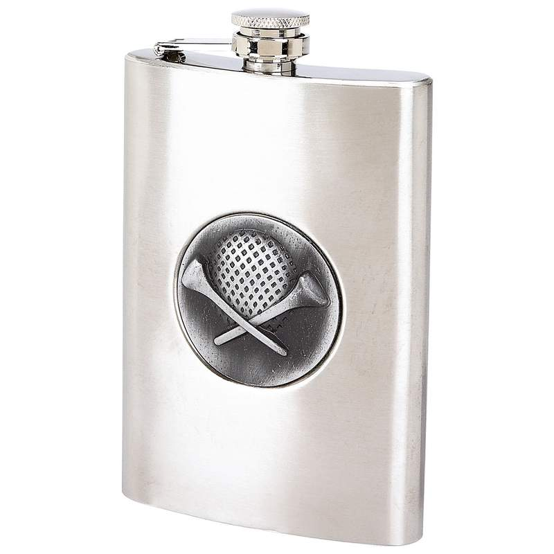Maxam® 8oz Stainless Steel Flask With Golf Emblem - KTFLASKGOLF