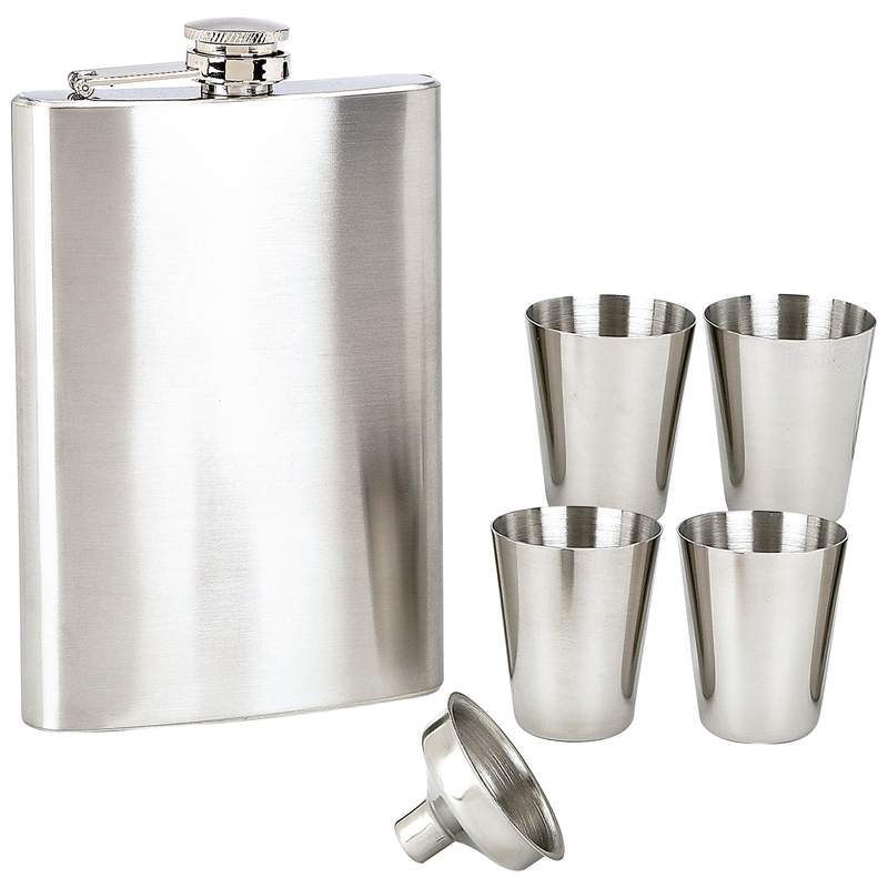 Maxam® 6pc Stainless Steel Flask Set - KTFLSET6 - KTFLSET6
