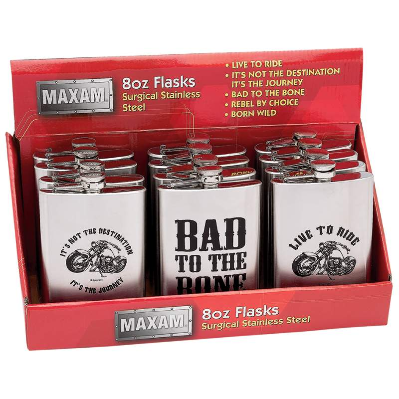 Maxam® 12pc 8oz Stainless Steel Flasks In Countertop Display - KTFLSK12