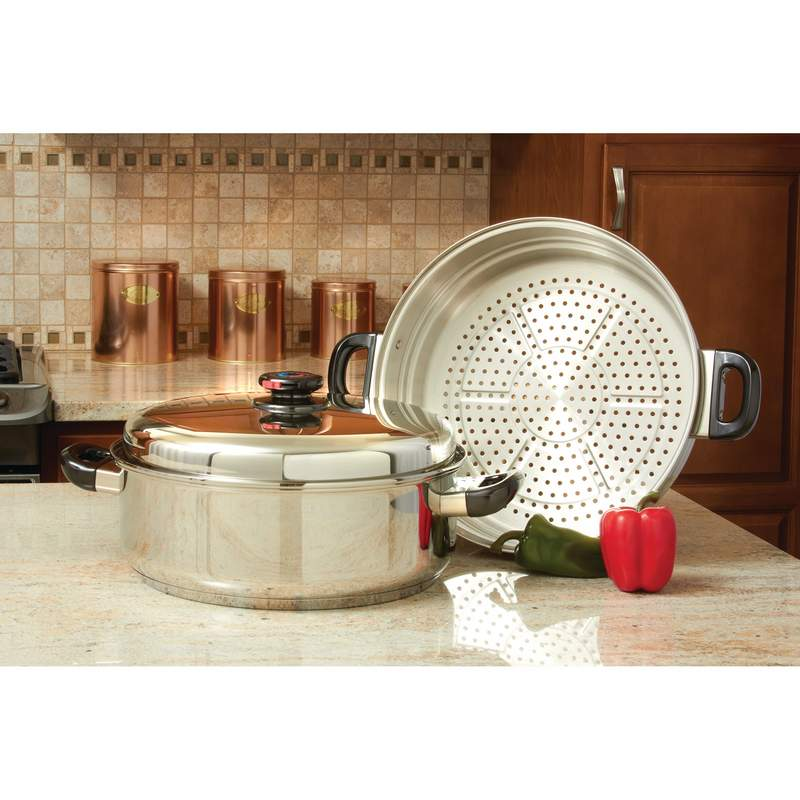 Precise Heat™ T304 Stainless Steel Oversized Skillet, Steamer And Cover - KTGIANT2