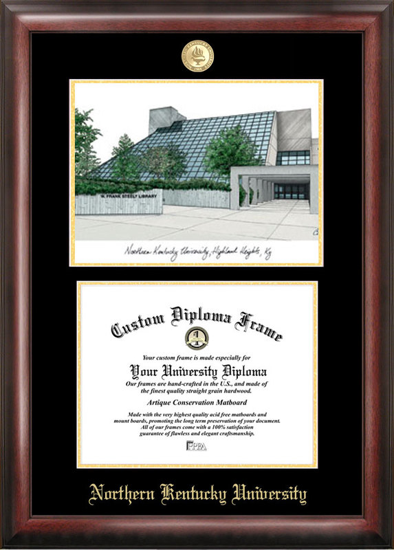 Northern Kentucky  University Gold embossed diploma frame with Campus Images lithograph - KY977LGED