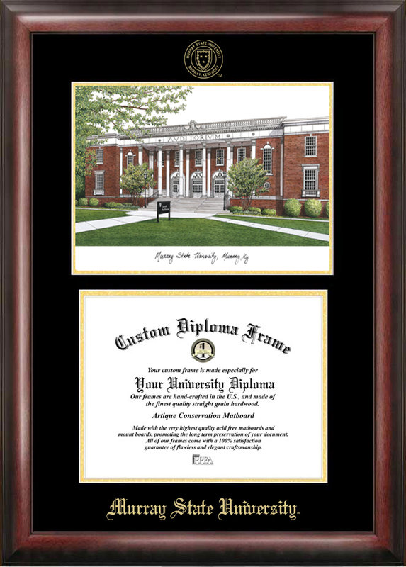 Murray State University Gold embossed diploma frame with Campus Images lithograph