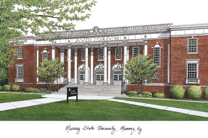 Murray State University Campus Images Lithograph Print