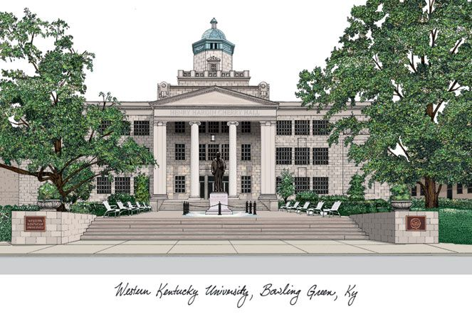 Western Kentucky University Campus Images Lithograph Print