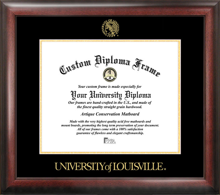 University of Louisville Gold Embossed Diploma Frame