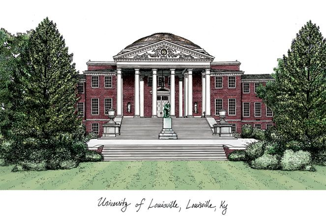 University of Louisville Campus Images Lithograph Print