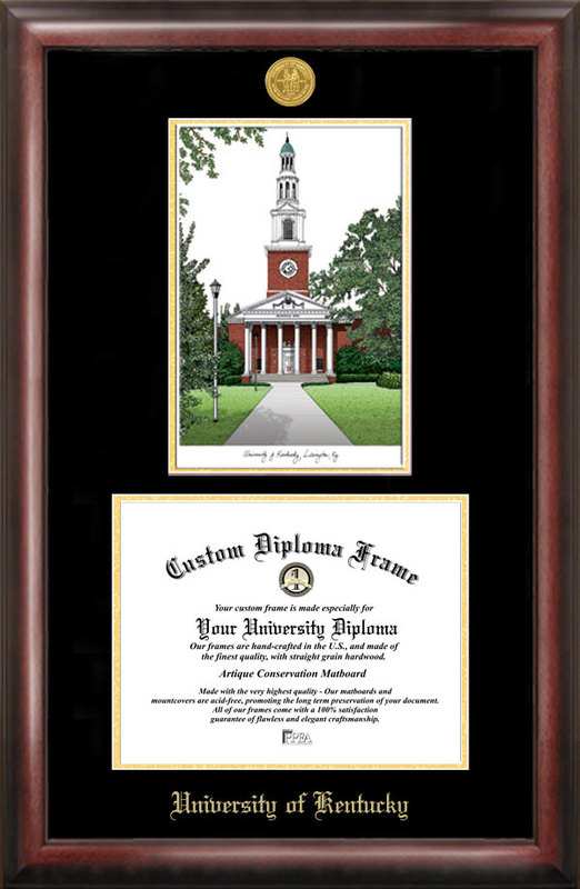 University of Kentucky Gold embossed diploma frame with Campus Images lithograph