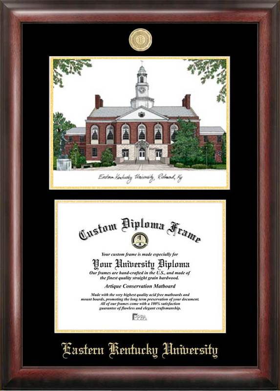 Eastern Kentucky University Gold embossed diploma frame with Campus Images lithograph