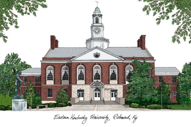 Eastern Kentucky University Campus Images Lithograph Print