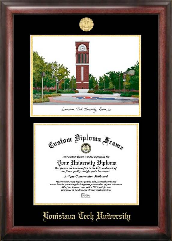 Louisiana Tech University Gold embossed diploma frame with Campus Images lithograph