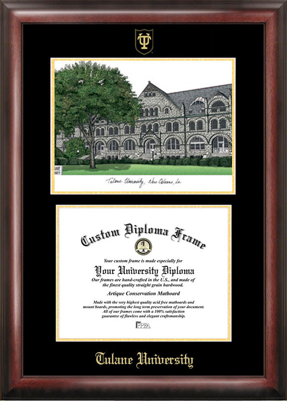 Tulane University Gold embossed diploma frame with Campus Images lithograph