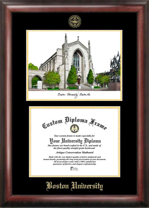 Boston University Gold embossed diploma frame with Campus Images lithograph