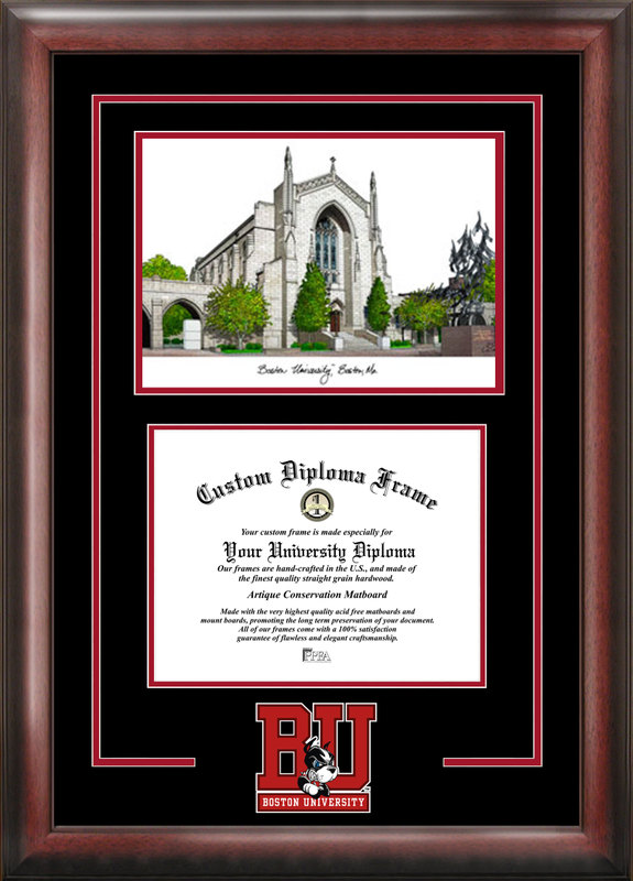 Boston University Spirit  Graduate Frame with Campus Image