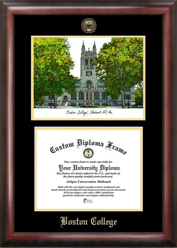 Boston College Gold embossed diploma frame with Campus Images lithograph