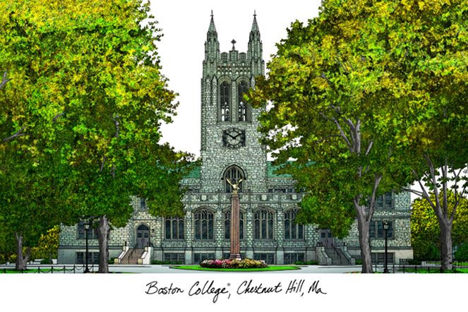 Boston College Campus Images Lithograph Print