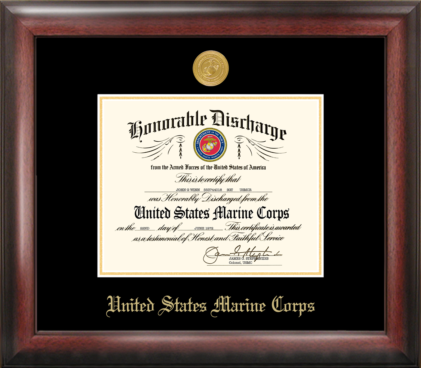 Marine Corp Discharge Frame Gold Medallion