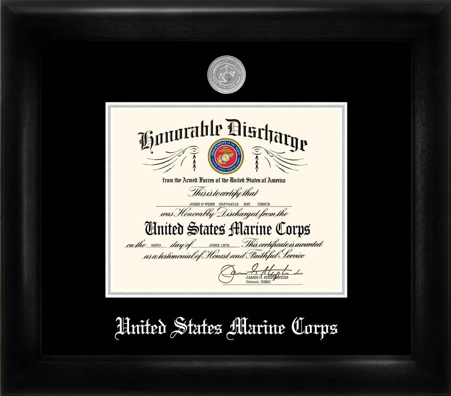Marine Corp Discharge Frame Silver Medallion