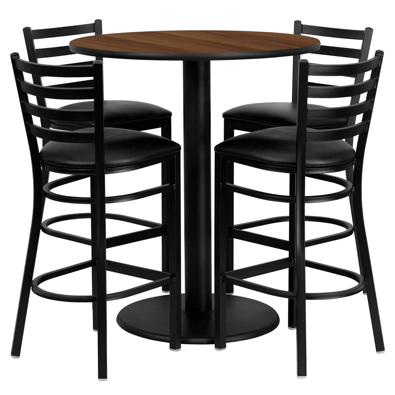 36' Round Walnut Laminate Table Set with 4 Ladder Back Metal Bar Stools - Black Vinyl Seat