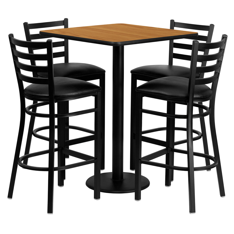 30' Square Natural Laminate Table Set with 4 Ladder Back Metal Bar Stools - Black Vinyl Seat