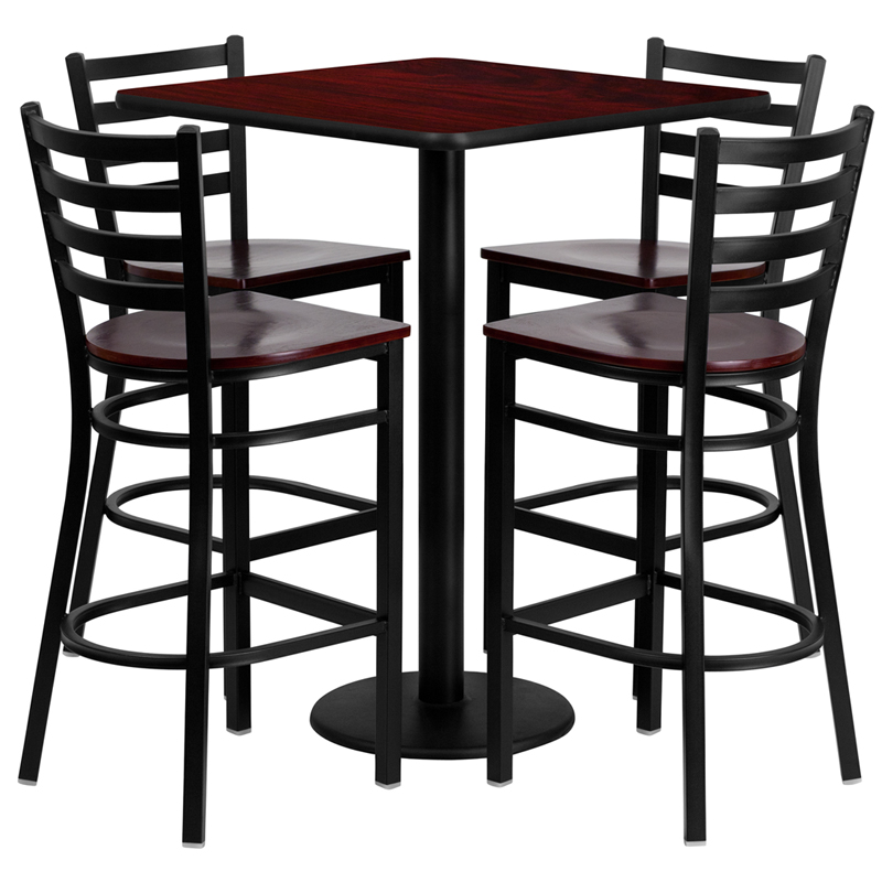 30' Square Mahogany Laminate Table Set with 4 Ladder Back Metal Bar Stools - Mahogany Wood Seat