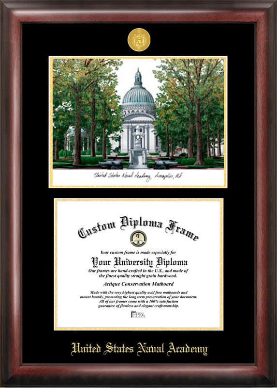 United States Naval Academy Gold embossed diploma frame with Campus Images lithograph