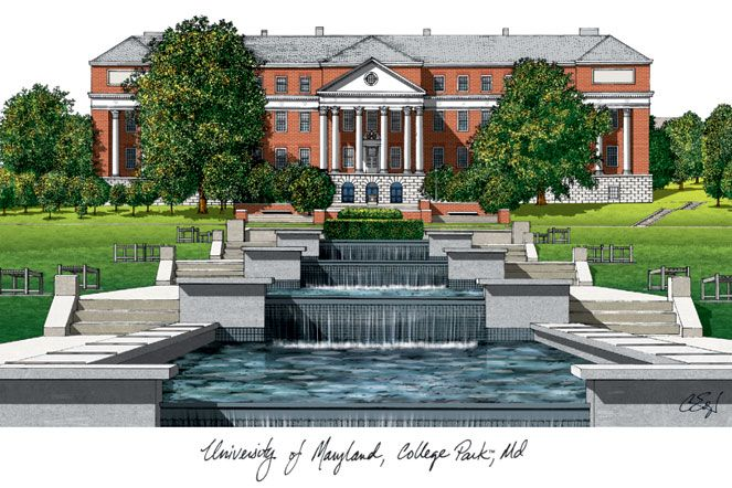 University of Maryland Campus Images Lithograph Print