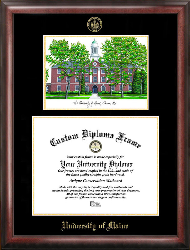 Maine University Gold embossed diploma frame with Campus Images lithograph