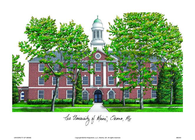 Maine University Campus Images Lithograph Print