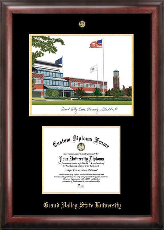 Grand Valley State University Gold embossed diploma frame with Campus Images lithograph