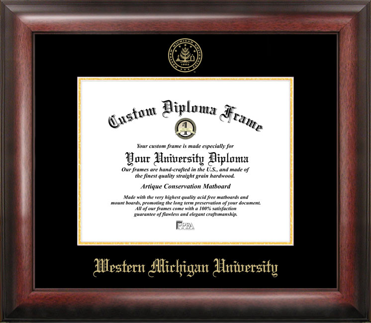 Western Michigan University Gold Embossed Diploma Frame