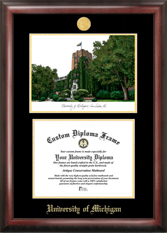 University of Michigan Gold embossed diploma frame with Campus Images lithograph