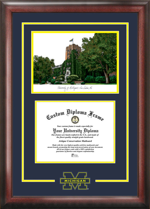 University of Michigan Spirit  Graduate Frame with Campus Image