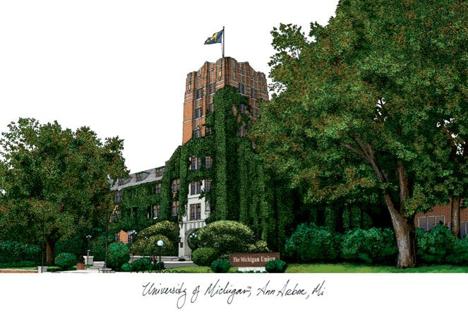 University of Michigan Campus Images Lithograph Print