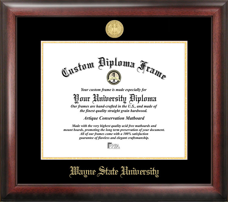 Wayne State University Gold Embossed Diploma Frame
