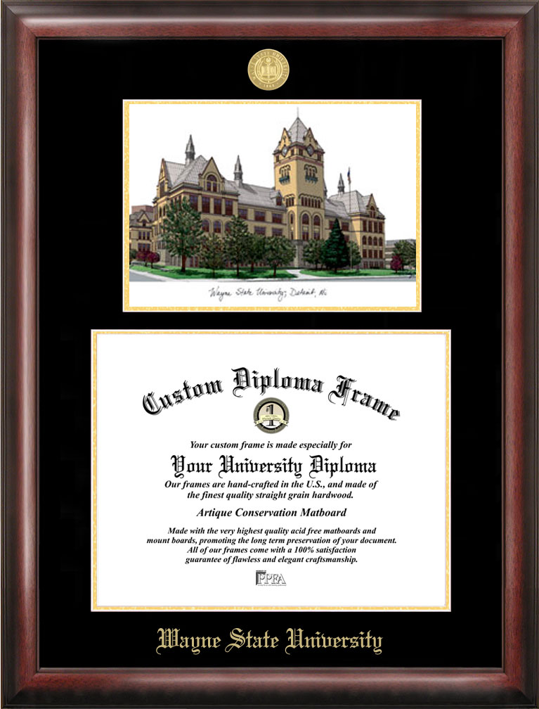 Wayne State University Gold embossed diploma frame with Campus Images lithograph