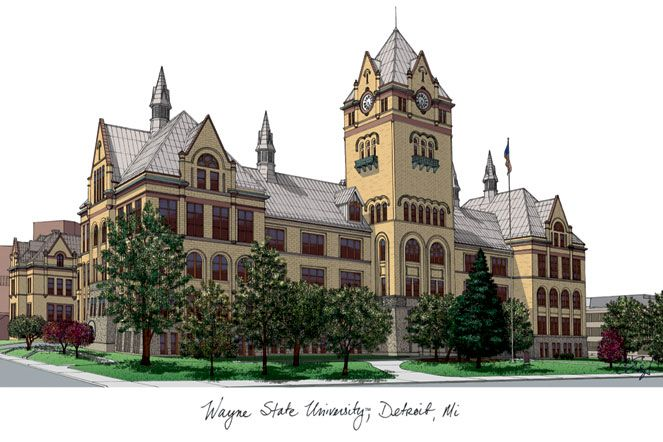 Wayne State University Campus Images Lithograph Print