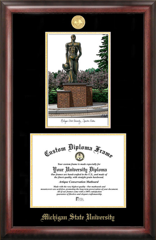 Michigan State University, Spartan, Gold embossed diploma frame with Campus Images lithograph