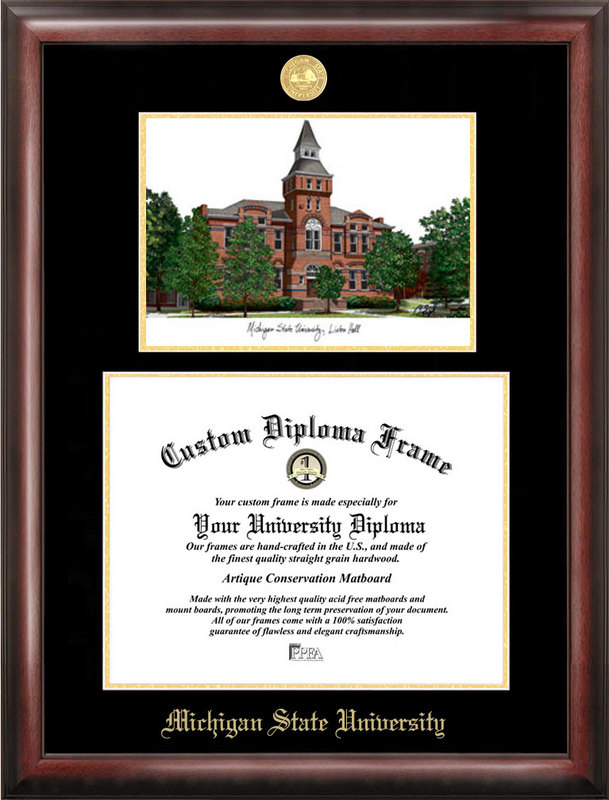 Michigan State University, Linton Hall, Gold embossed diploma frame with Campus Images lithograph