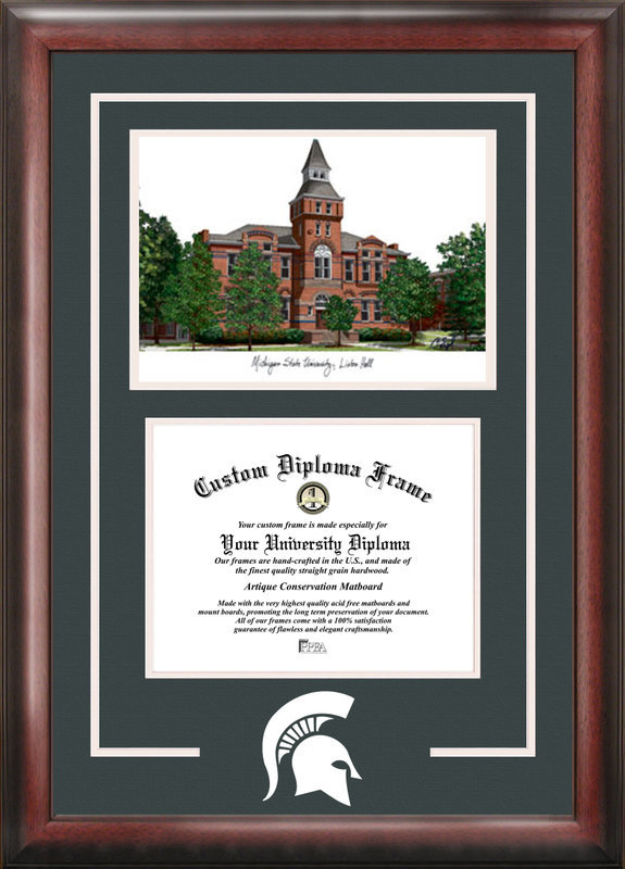 Michigan State University, Linton Hall,  Spirit Graduate Frame with Campus Image