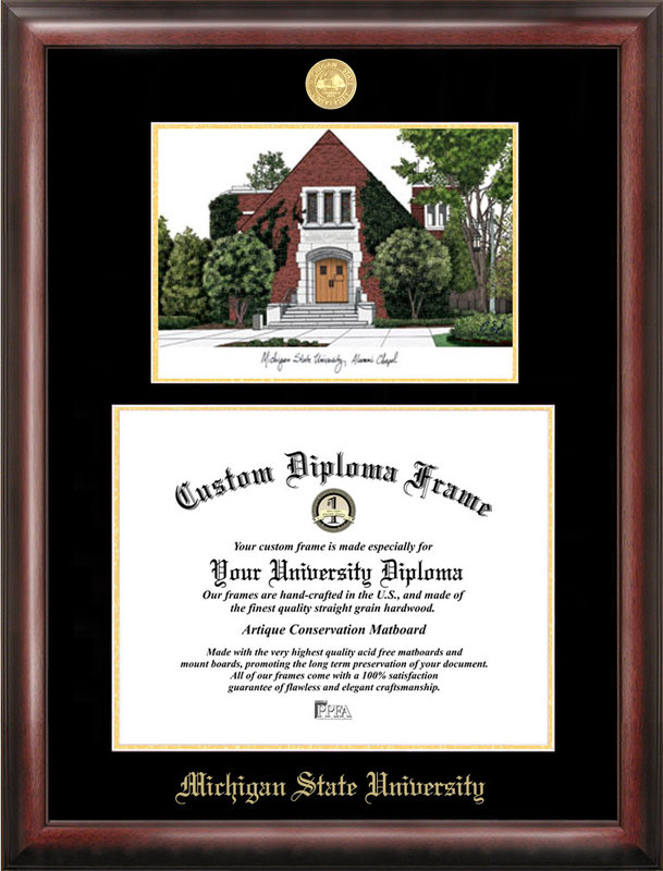 Michigan State University, Alumni Chapel, Gold embossed diploma frame with Campus Images lithograph