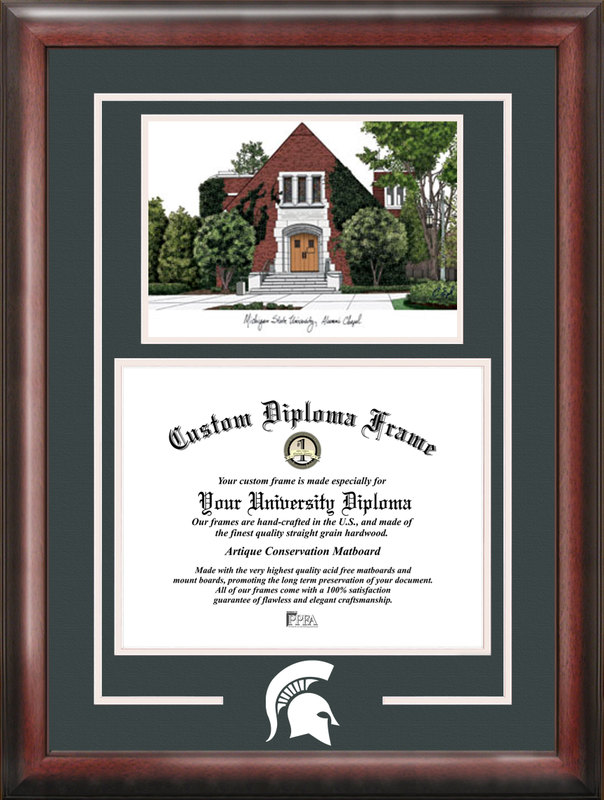 Michigan State University Alumni Chapel Spirit Graduate Frame with Campus Image